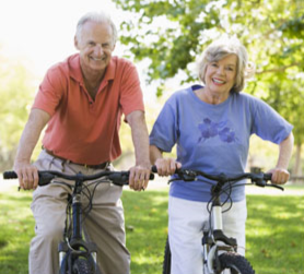 Seniors on bicycles