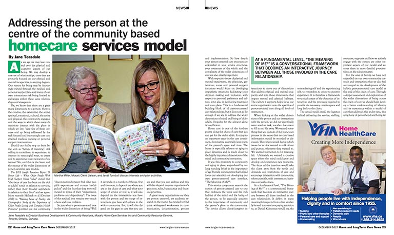 Addressing the person at the centre of the community based homecare services model