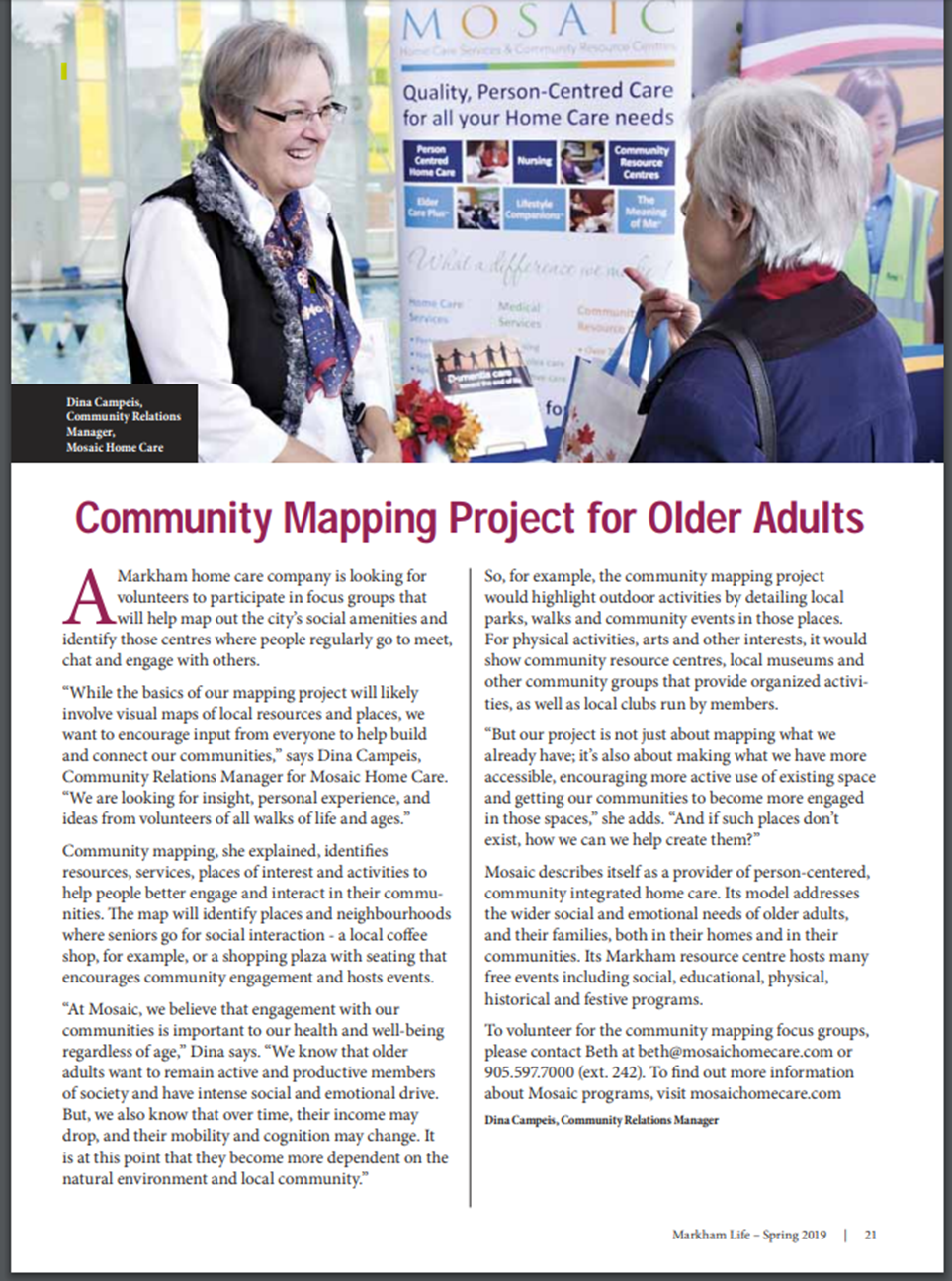 Mosaic in the Media - Mosaic Home Care